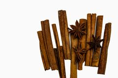 Sticks of cinnamon star anise Brown isolate on a white background close-up stock images