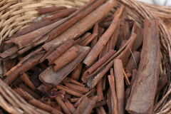 Cinnamon. Sticks dry cinnamon in basket Stock Photo