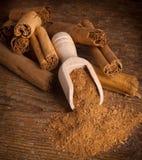 Sticks and ground ceylon cinnamon Royalty Free Stock Image