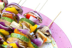Sticks with healthy vegetables ready to grill Royalty Free Stock Images