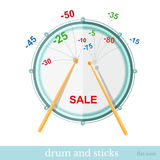 Sticks hit drum and discounts fly out Royalty Free Stock Photos
