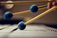 Sticks hitting a xylophone Royalty Free Stock Photography