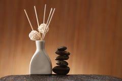 Sticks of incense in ceramic jar Stock Photography