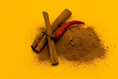 Sticks and powder of cinnamon and red pepper Royalty Free Stock Photography