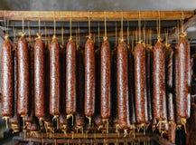 Sticks salami or sausages stock photography