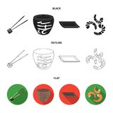 Sticks, shrimp, substrate, bowl.Sushi set collection icons in black,flat,outline style vector symbol stock illustration.  Stock Image