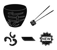 Sticks, shrimp, substrate, bowl.Sushi set collection icons in black style vector symbol stock illustration web. Sticks, shrimp, substrate, bowl.Sushi set Stock Image