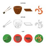 Sticks, shrimp, substrate, bowl.Sushi set collection icons in cartoon,outline,flat style vector symbol stock. Illustration Royalty Free Stock Images
