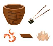 Sticks, shrimp, substrate, bowl.Sushi set collection icons in cartoon style vector symbol stock illustration web. Sticks, shrimp, substrate, bowl.Sushi set Stock Image