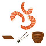 Sticks, shrimp, substrate, bowl.Sushi set collection icons in cartoon style vector symbol stock illustration web. Royalty Free Stock Images