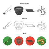 Sticks, shrimp, substrate, bowl.Sushi set collection icons in flat,outline,monochrome style vector symbol stock. Illustration Stock Image