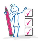 Stickwoman Checklist Stock Photography