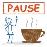 Stickwoman Coffee Cup Pause Stock Photos