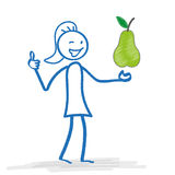 Stickwoman Pear Ok Royalty Free Stock Images