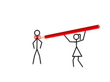 Stickwoman ties her love a tie (vector). Stickwoman draws a red tie with a crayon for her love (vector stock illustration