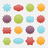 Sticky badges stars and clouds tags vector set Royalty Free Stock Photos