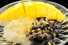 Sticky Black and White Rice Mango, Thai Dessert Stock Image