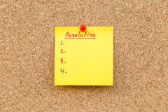 Sticky blank note resolutions for new year Stock Photography