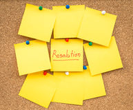 Sticky blank note resolutions for new year Royalty Free Stock Images
