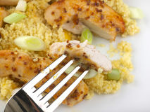 Sticky Chicken with Mango couscous meal Stock Image