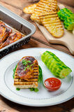 Sticky chicken with spicy sauce, toasted panini Royalty Free Stock Photo