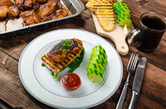 Sticky chicken with spicy sauce, toasted panini Stock Photography