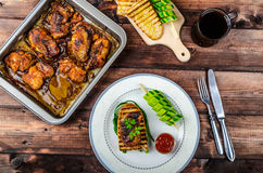 Sticky chicken with spicy sauce, toasted panini Royalty Free Stock Photos