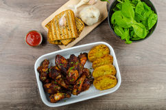 Sticky chicken wings with garlic panini bread Royalty Free Stock Photo
