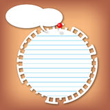 Sticky circle note pad. The torn sticky circle note pad with lines push with red pin Stock Image