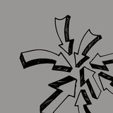 Sticky collection arrows. Vector illustration. Sketch arrow coll Stock Photos