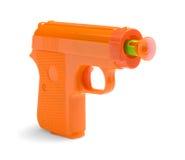 Sticky Dart Gun. Orange Plastic Toy Dart Gun Isolated on White Background Stock Photo