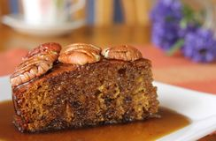 Sticky Date Pudding with Butterscotch Sauce 4 Royalty Free Stock Photography
