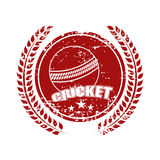 Sticky design with cricket ball and laurel wreath. Royalty Free Stock Photos