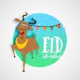 Sticky design for Eid-Al-Adha celebration. Creative sticky design with goat on stylish background for Islamic Festival of Sacrifice, Eid-Al-Adha celebration Royalty Free Stock Photos