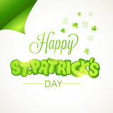 Sticky design for St. Patricks Day celebration. Creative sticky design with stylish text Happy St. Patricks Day on clover leaves decorated white background Stock Image