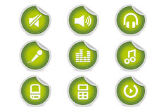 Sticky Icons - Music & Audio Software + Equipment. A set of 9 vector icons (EPS), illustrator 8+ compatible Royalty Free Stock Photography