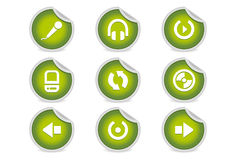 Sticky Icons - Music & Audio Software + Equipment. A set of 9 vector icons (EPS), illustrator 8+ compatible Stock Photo