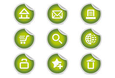 Sticky Icons - Website & Internet | Green. A set of 9 vector icons (EPS), illustrator 8+ compatible Royalty Free Stock Images