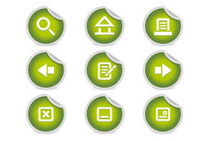 Sticky Icons - Website Navigation | Green. A set of 9 vector icons (EPS), illustrator 8+ compatible Stock Images