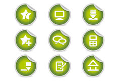 Sticky Icons - Websites & Blogs | Green. A set of 9 vector icons (EPS), illustrator 8+ compatible Royalty Free Stock Images