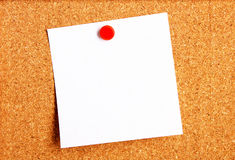 Sticky note. Hanging on corkboard stock photography
