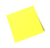 Sticky Note. A yellow sticky note on a white background royalty free stock photo