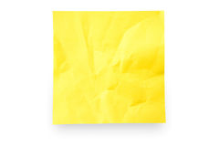 Sticky Note. Yellow crushed sticky note isolated on white background with shadow Stock Images