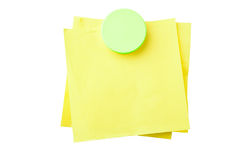 Sticky Note. Yellow sticky notes attached with magnet isolated on white background with clipping path Royalty Free Stock Image