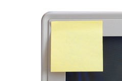 Sticky note. On the computer display Royalty Free Stock Photos