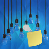 Sticky note with another idea light bulb on crumpled paper Stock Image