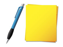 Sticky note with ballpen Stock Images