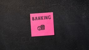 Sticky notes on the blackboard. Sticky note with Banking word on the blackboard Royalty Free Stock Photo