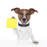 Sticky note banner dog. Yellow royalty free stock image
