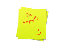 Sticky note be happy. Two yellow sticky notes be happy, white background royalty free illustration